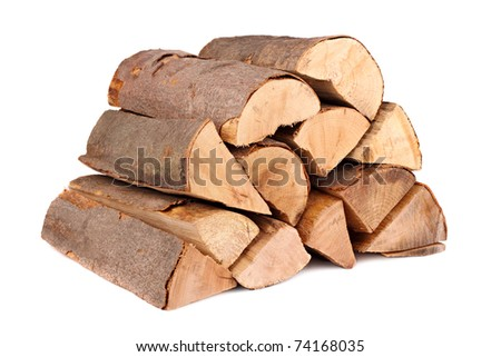 a stack of nature firewood - stock photo