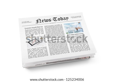 "A stack of newspapers with headline ""News Today"" and some article with information. Isolated on white."