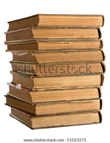 A stack of old books on white background.