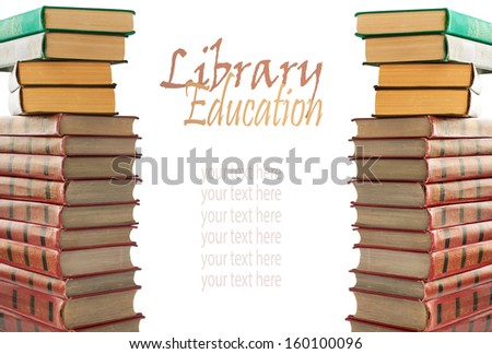 A stack of old books with gold stamping on a white background isolated  - stock photo
