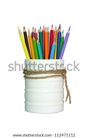A stack of pencil color on white background - stock photo