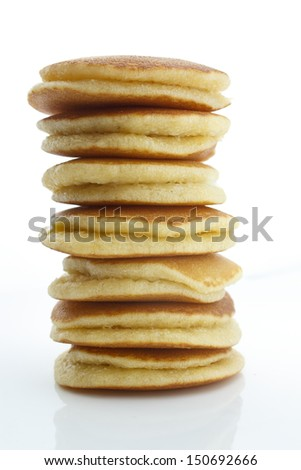 A stack of plain pancakes on a white background