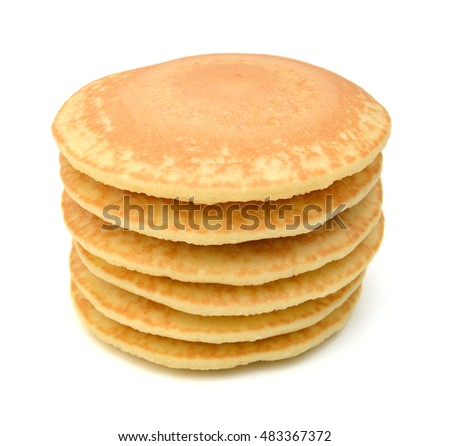 A stack of plain pancakes on a white background.