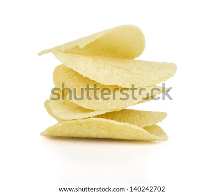 A stack of potato chips on white background - stock photo