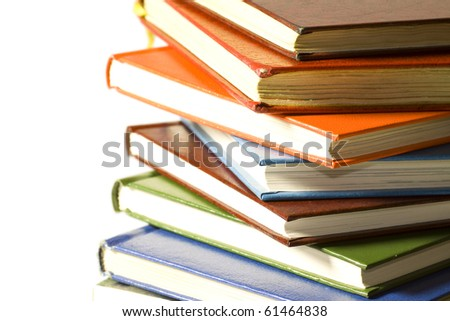 A stack of reading material, books. - stock photo