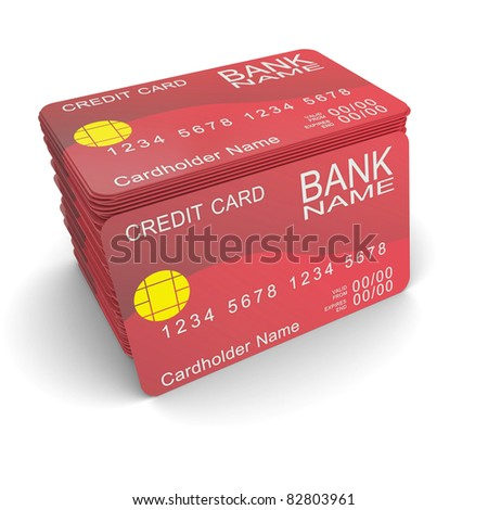 A stack of red credit card - stock photo