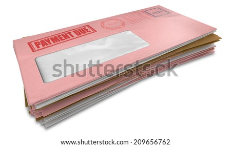 A stack of regular envelopes with delivery stamps and a clear window and the top pink one saying payment due symbolizing bills and debt on an isolated white background - stock photo