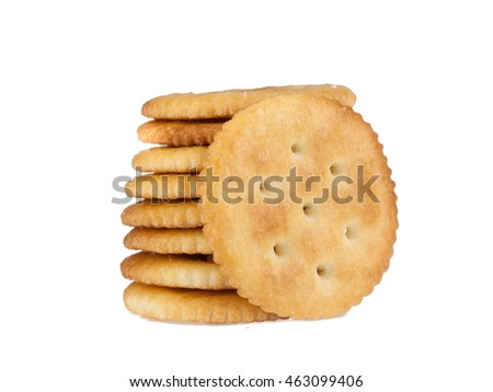 A stack of round crackers isolated on white background, top view