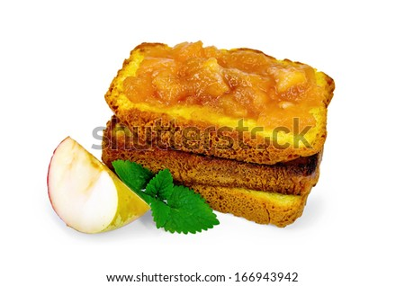 A stack of slices of bread with apple jam, mint isolated on white background - stock photo