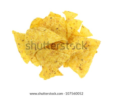 A stack of yellow crispy tortilla chips.