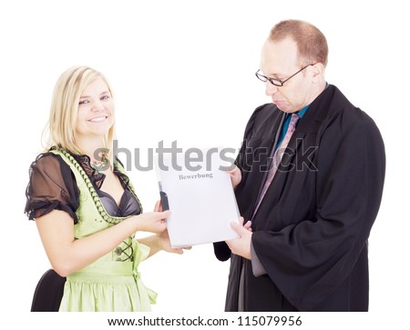 A staff executive interviews a young woman - stock photo