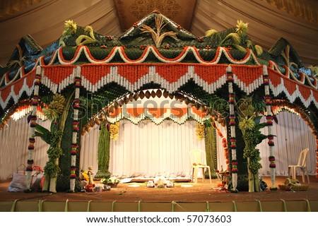 Stage traditional decorated hindu wedding stock photo royalty free a stage traditional decorated for a hindu wedding junglespirit Gallery