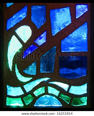 A stained glass window wave - stock photo