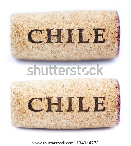 A stained wine cork with 'Chile' written on it, isolated on white background, shot at its horizontal position. Two types of depth of field - shallow and deep. - stock photo