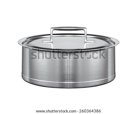 A stainless pan on white - stock photo
