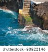 A stair down to the blue water in Tenerife, Spain - stock photo