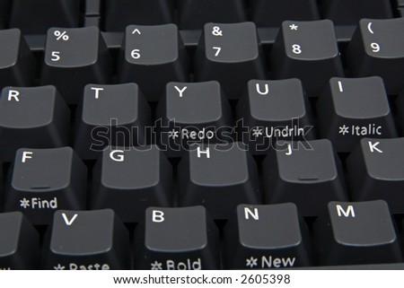 A standard black keyboard for computers or other electronic device. Focus on: G,H,K keys (middle of keyboard).