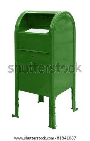 A standard green US mailbox isolated over a white background