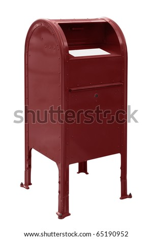 A standard red US mailbox isolated over a white background - stock photo