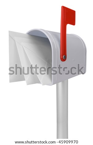 A standard white mailbox with mail and red flag isolated over white with a clipping path - stock photo