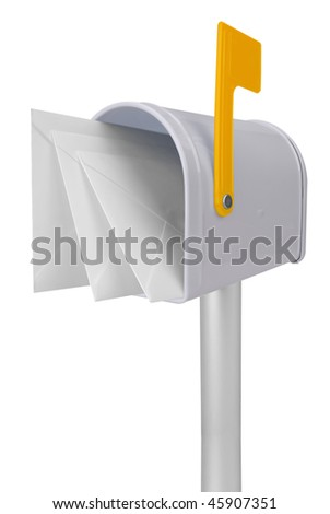 A standard white mailbox with mail and yellow flag isolated over white with a clipping path - stock photo
