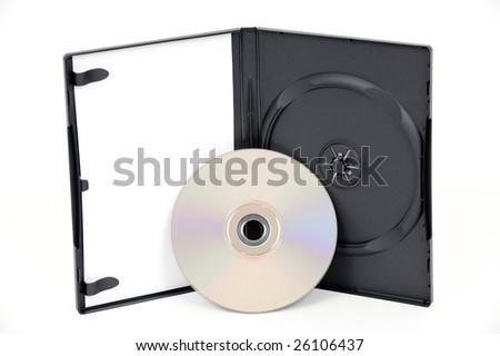 A standing open DVD case with a silver DVD leaning on the case