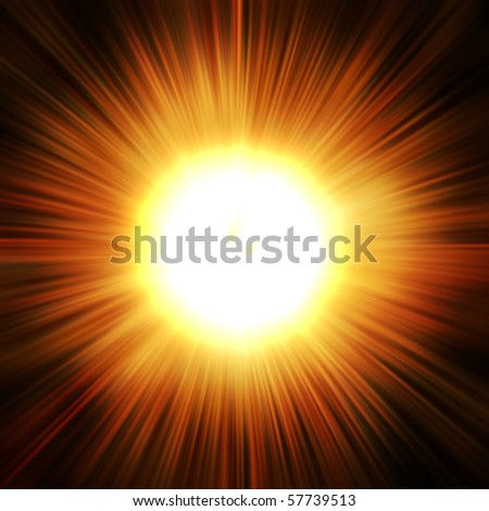 A star burst or lens flare over a black background. It also looks like an abstract illustration of the sun. - stock photo