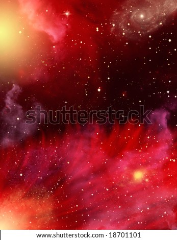 A star field with red and purple nebulaes. - stock photo