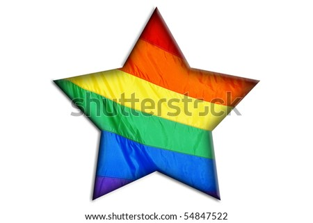 a star with the rainbow flag on a white background - stock photo