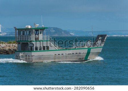 A state park research ship motors out into San Francisco Bay - stock photo