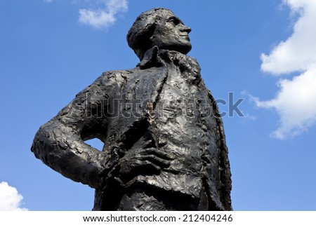 A statue dedicated to American Founding Father and third President of the United States, Thomas Jefferson, situated on the banks of the river Seine in Paris. - stock photo