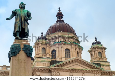 A statue of Christoper Columbus stands before the Onanadaga County Courthouse in Syracuse NY - stock photo