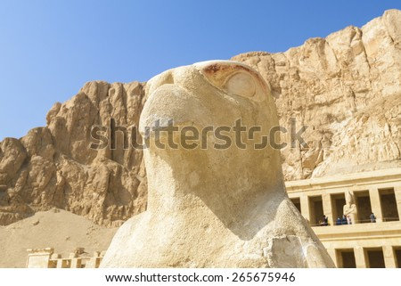 A statue of Horus at the Queen Hatshepsut's temple, Theban Necropolis (Egypt) - stock photo