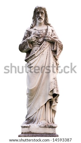 A statue of Jesus Christ isolated on a white background - stock photo