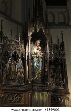 a statue of St. Mary and baby Jesus in St. Peter Church Cathedral Jakarta Indonesia