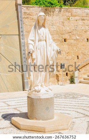 A statue of the Virgin Mary, in the Church of Annunciation, in Nazareth, Israel - stock photo