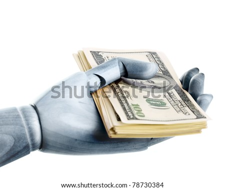 A steel hand with dollars. Isolated on a white background