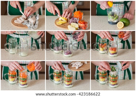 A Step by Step Collage of Making Rainbow Picnic Chicken and Vegetable Salad in a Mason Jar