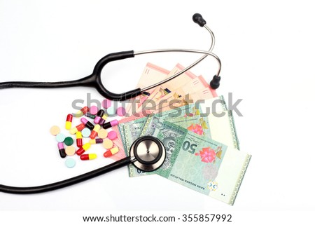 a stethoscope and colorful pills on various Malaysian currency - stock photo