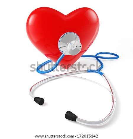 A stethoscope checking the heartbeat of a red heart, white background