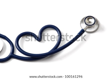 A stethoscope in the form of a heart isolated on white background - stock photo