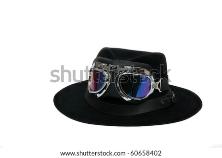 a stetson with dust glasses on it - stock photo