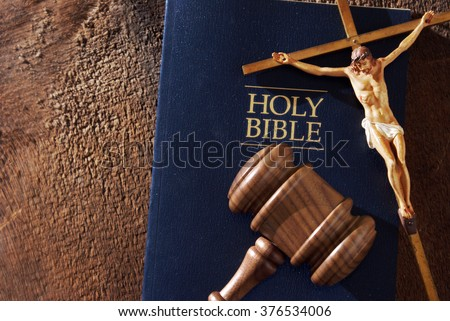 A still life composition representing the message of a divine judgment. - stock photo