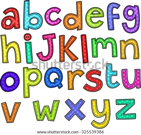 A stitch style doodle set of hand drawn alphabet letters.