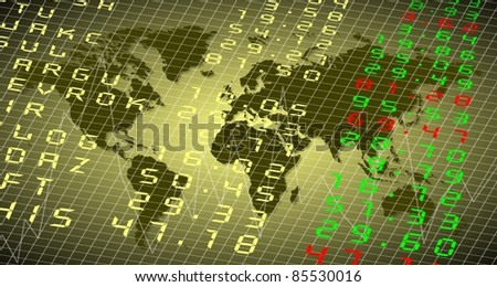 A stock exchange board with the World in the background / World stock exchange - stock photo