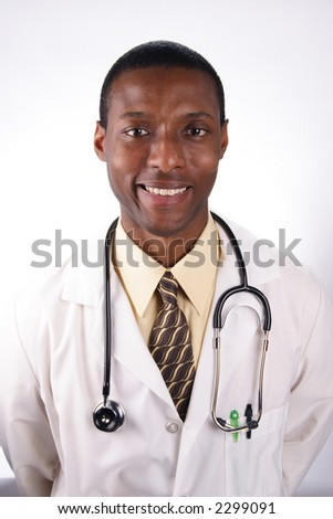 A stock image of an African American doctor. - stock photo