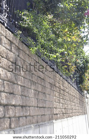 A Stone Wall And Planting