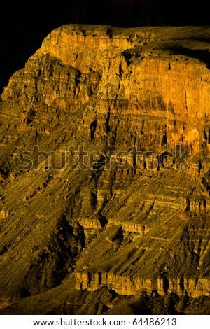 A stony butte near the shark fin in grand canyon. - stock photo