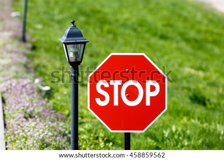 A Stop sign is a red octagon on a background of grass and rivers.