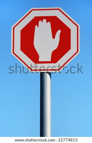 A Stop-Sign over Blue Sky - stock photo